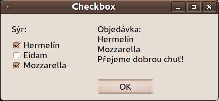 Qt checkbox - po zadání