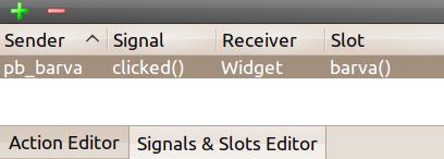Editor signálů a slotů