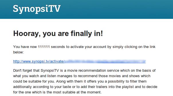 SynopsiTV - registrační email