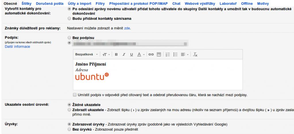 HTML podpis ve službě Gmail