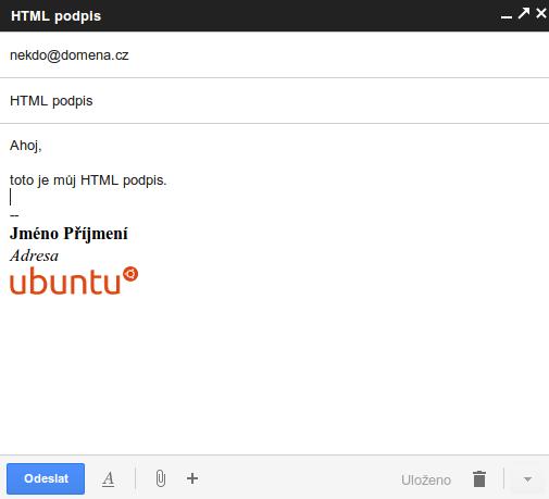 Zpráva s HTML podpisem